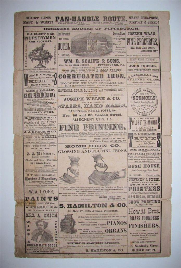 Antique Pittsburgh Two Sided Broadside with Ads, 1874