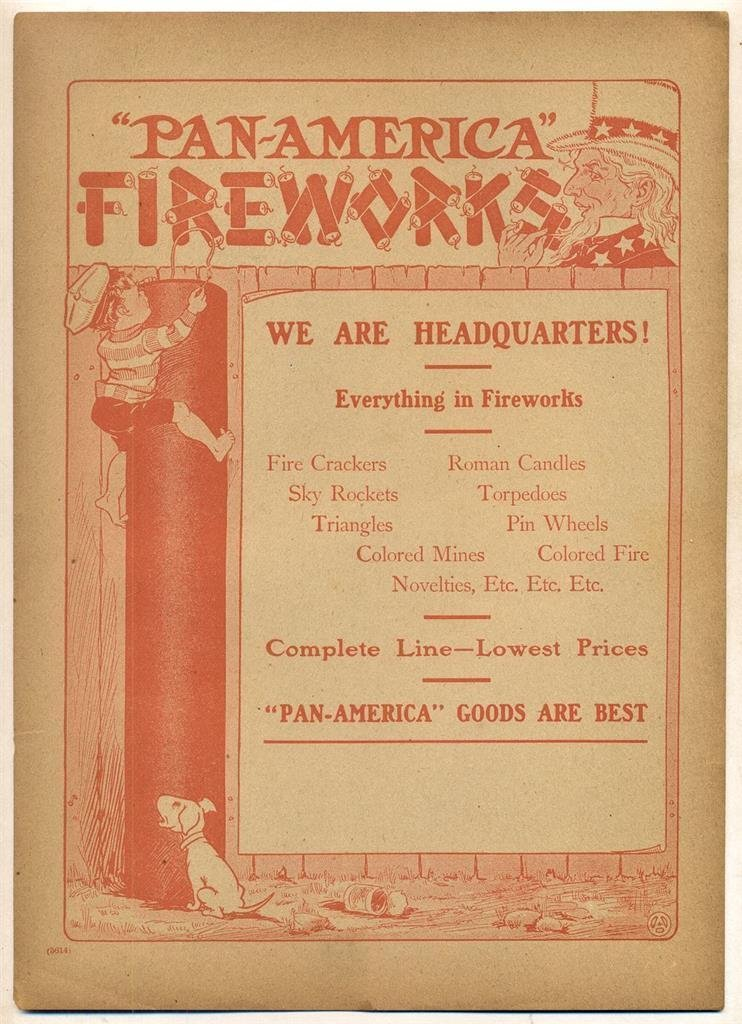 Vintage Advertisement Page for Fireworks, 1910