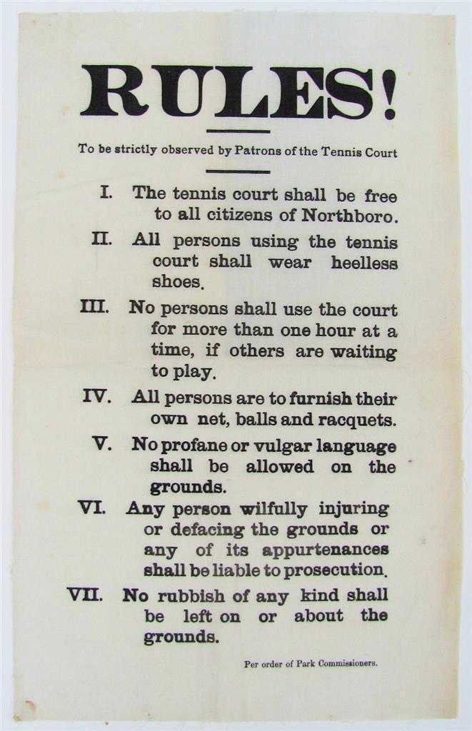Vintage Tennis Court Rules Cloth Broadside Sign, 1900