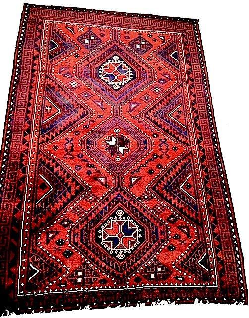 Vintage Persian Shiraz Tribal Geometric Rug, 5.7x8.6