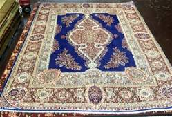 Rare Persian Hand Knotted Royal Blue Rug, 8.9x12.1