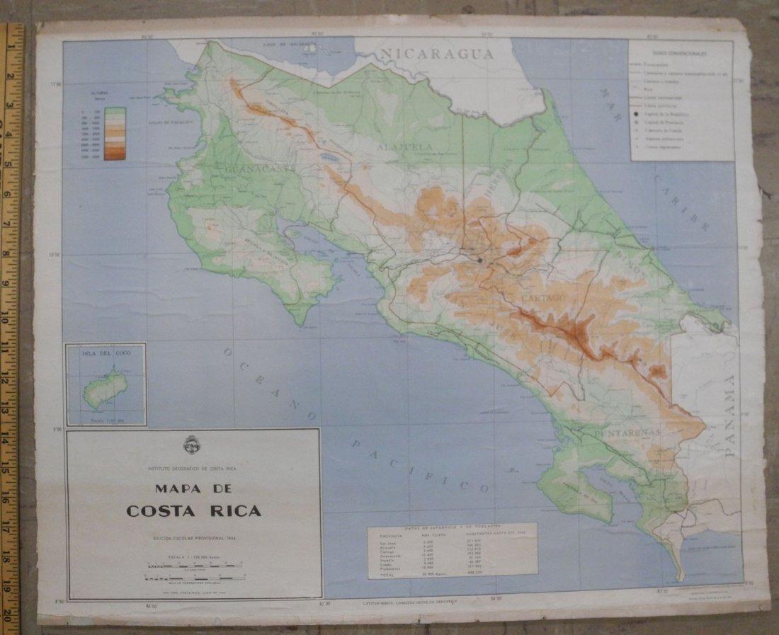 Mapa De Costa Rica. Edicion Escolar Provisional 1954