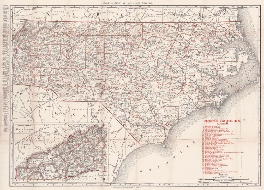 Rand, McNally & Co.'s Atlas Map of North Carolina 1896