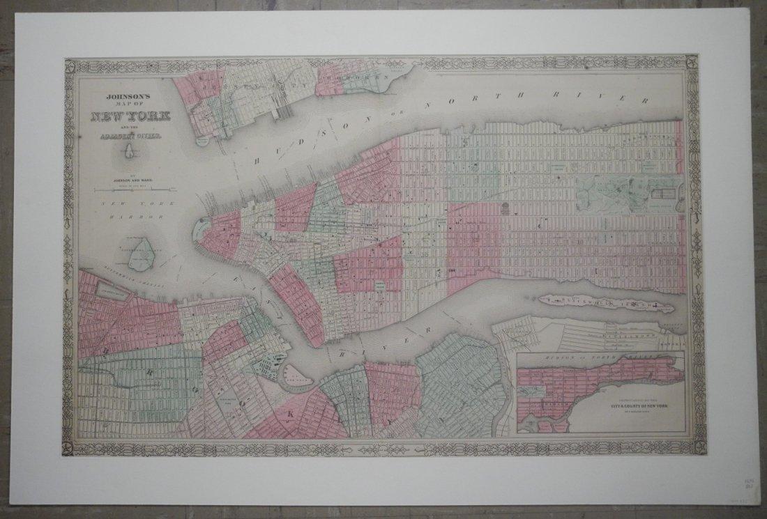 Map of New York & Adjacent Cities 1864
