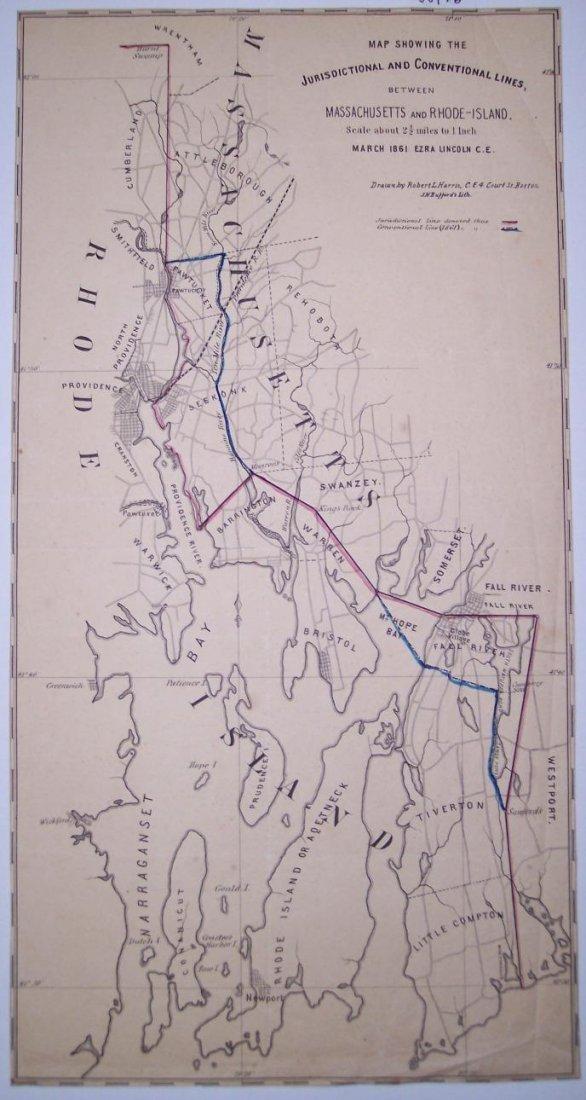 Map Showing of Massachusetts & Rhode-Island 1861