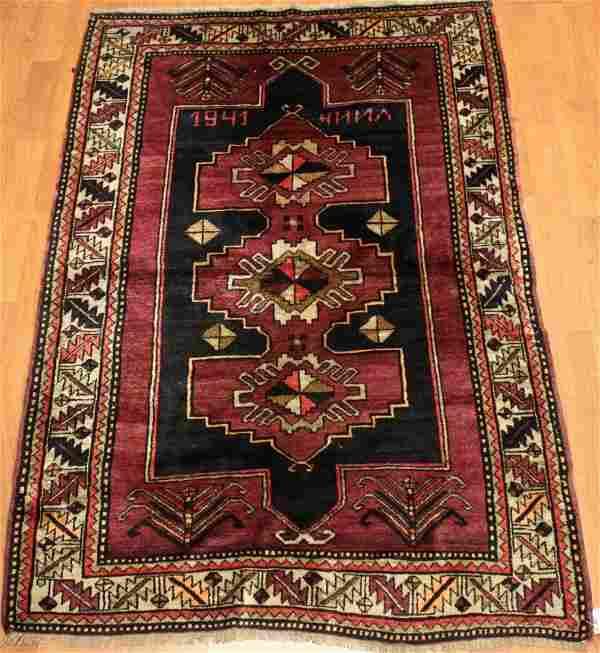 Semi Antique Kazak Caucasian Rug 4x7