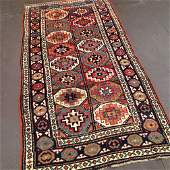 Antique Kazak Moghan Caucasian Rug 4x7