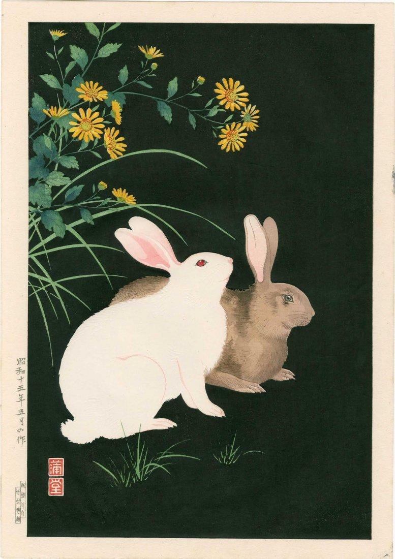 Hodo Nishimura: Two Rabbits at Night, 1938