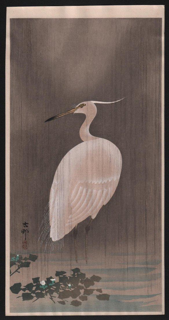 Ohara Koson: Egret in Rain, 1910