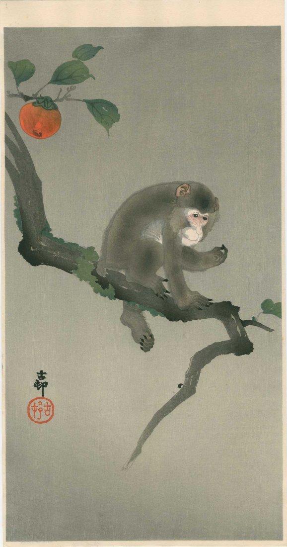 Ohara Koson: Monkey in a Persimmon Tree, 1930