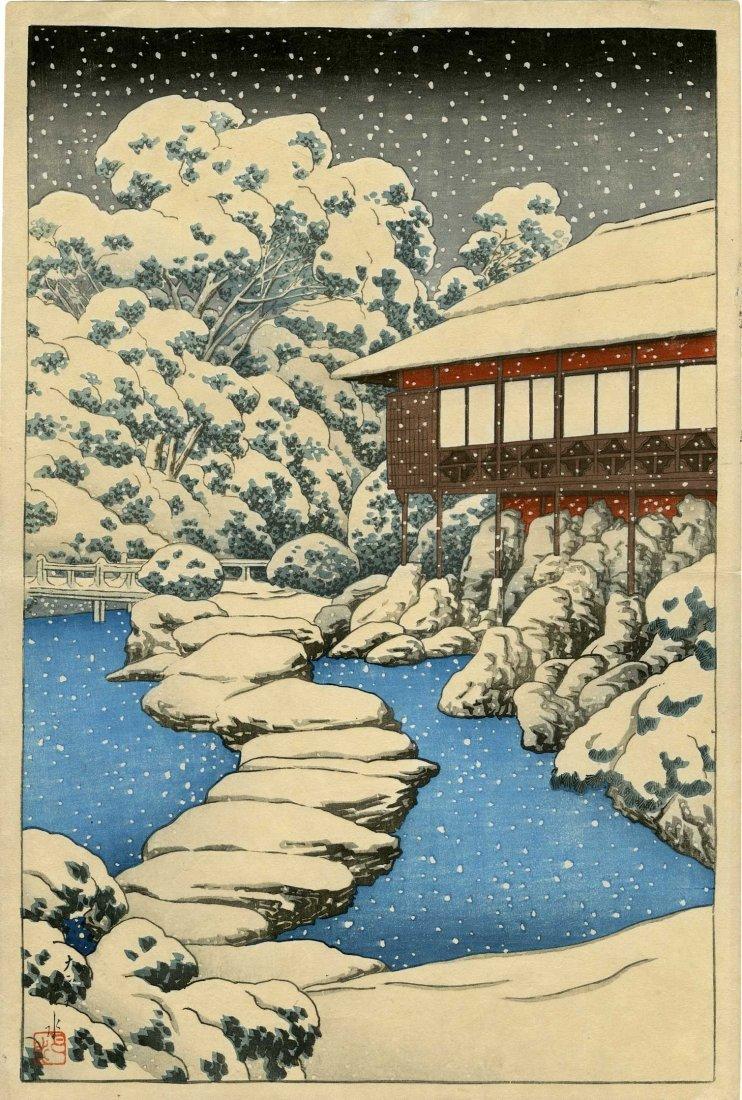 Hasui Kawase: Snow at Pond's Edge, 1st Ed, 1920