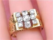 Retro 18K Gold Diamond Unisex Cocktail Ring, 1.2ctw