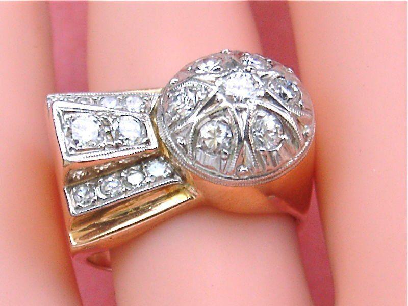Retro 18K Pink Gold Diamond Ring, 0.95ctw