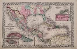 Map of Mexico Central America & the West Indies, 1870
