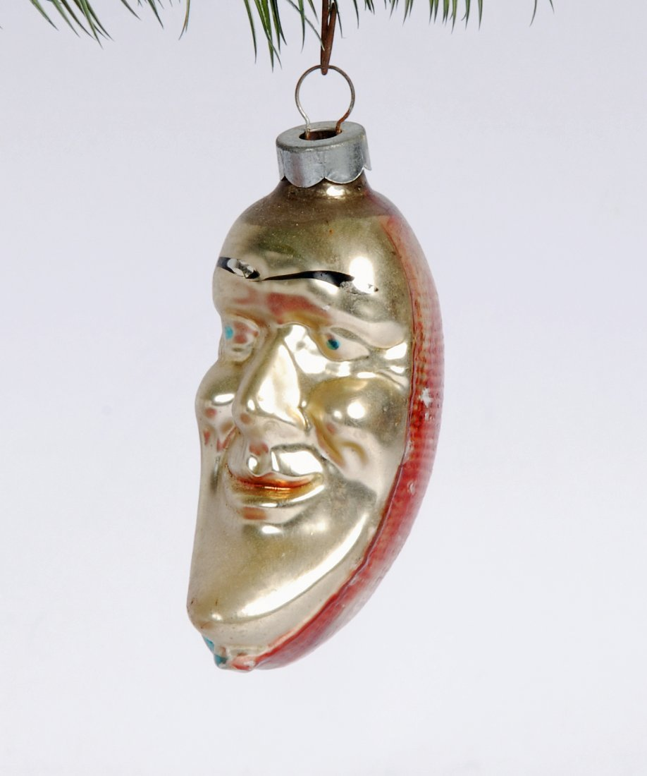 Man in the Moon Hand Blown Christmas Ornament, 1940