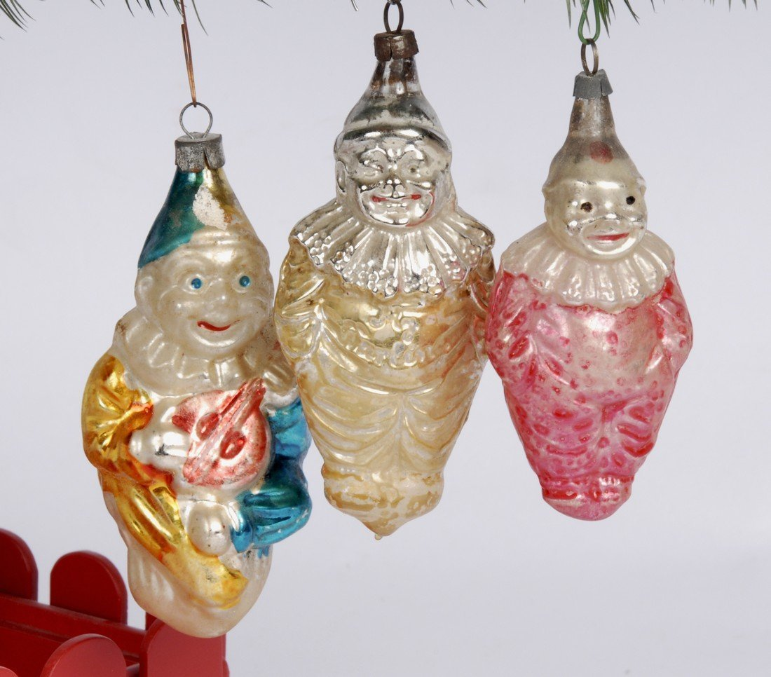 3 Clowns Christmas Hand Blown Ornaments, 1940's