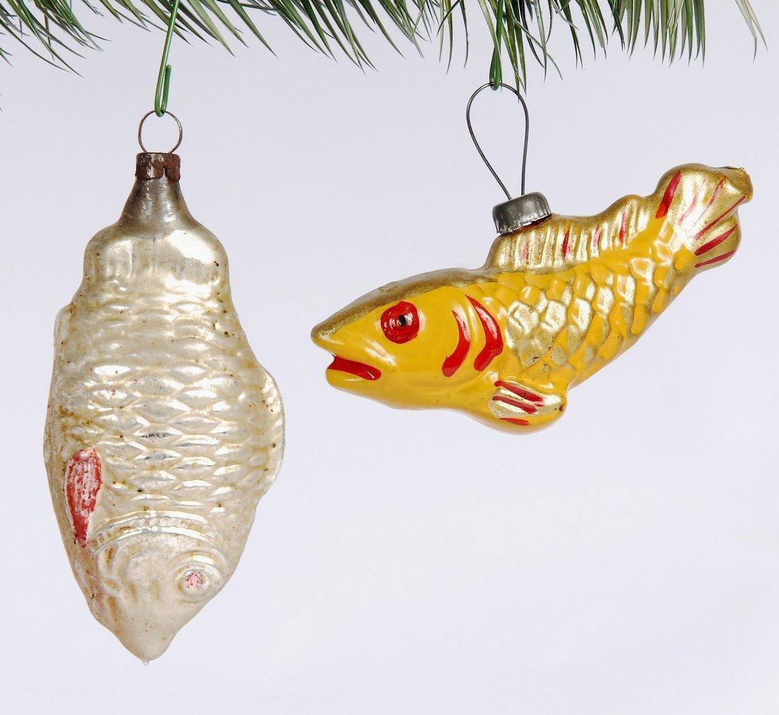 2 Fish Hand Blown Christmas Ornaments, 1940's