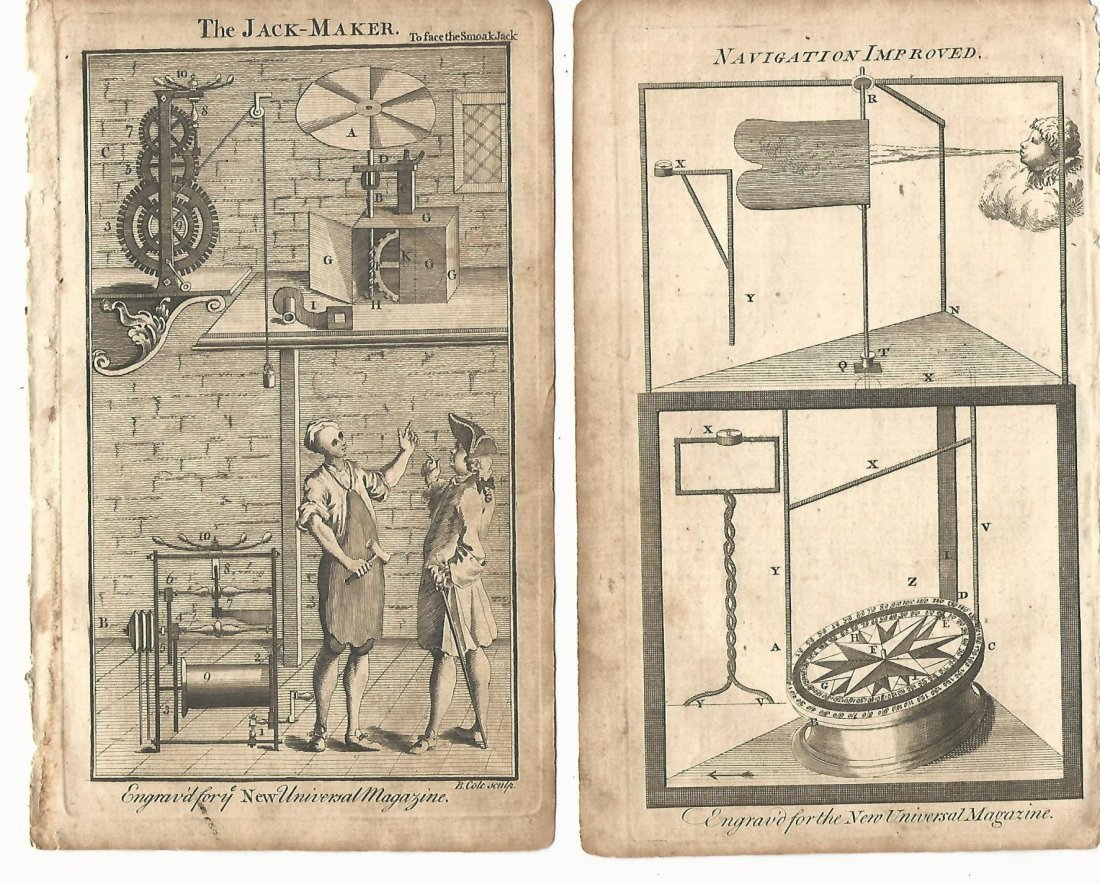 1757 Lot of 3 Engravings of Early Machines