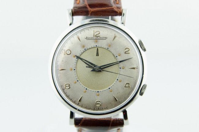 Rare LeCoultre Stainless Steel Alarm Watch