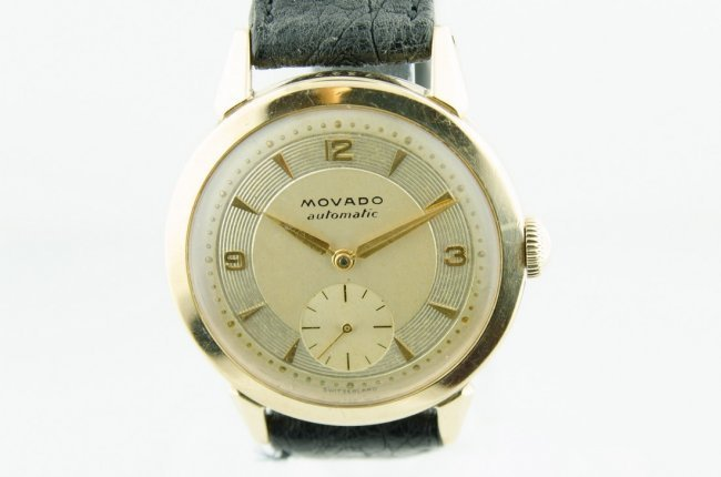 Movado 14K Solid Gold Automatic Watch, 1950's