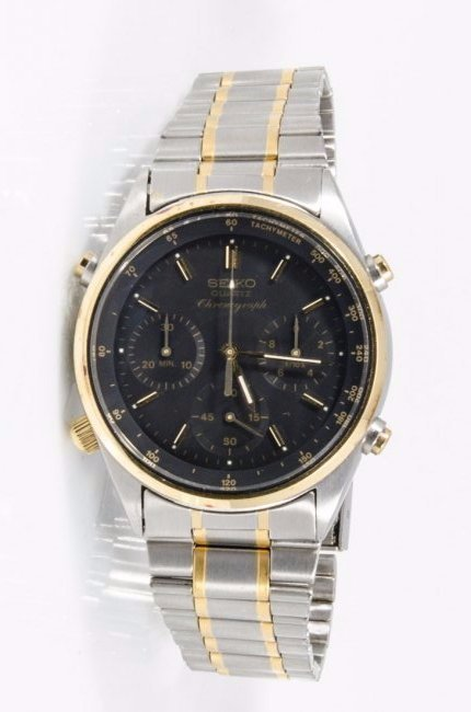 Seiko GMTT Two Tone Chronograph Watch