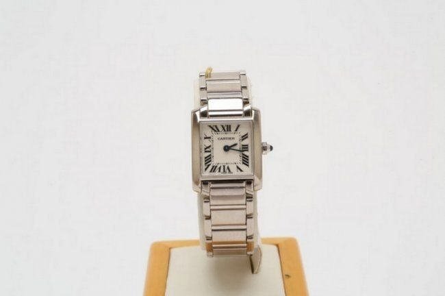 Cartier 18K Solid White Gold Tank Watch