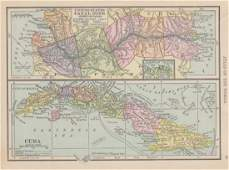 Map of US Canal Zone Ithmus of Panama, Cuba, 1908