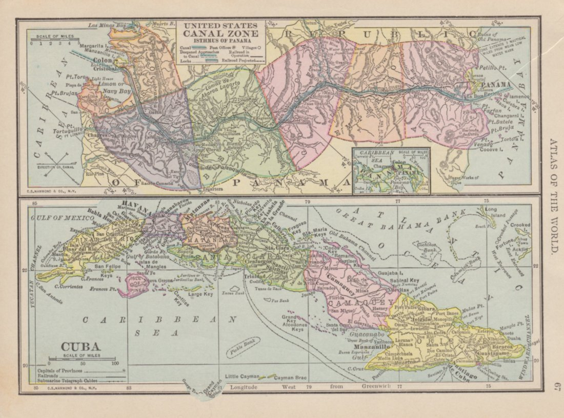 Of US Canal Zone Ithmus Of Panama Cuba 1908 - Us Map 1908