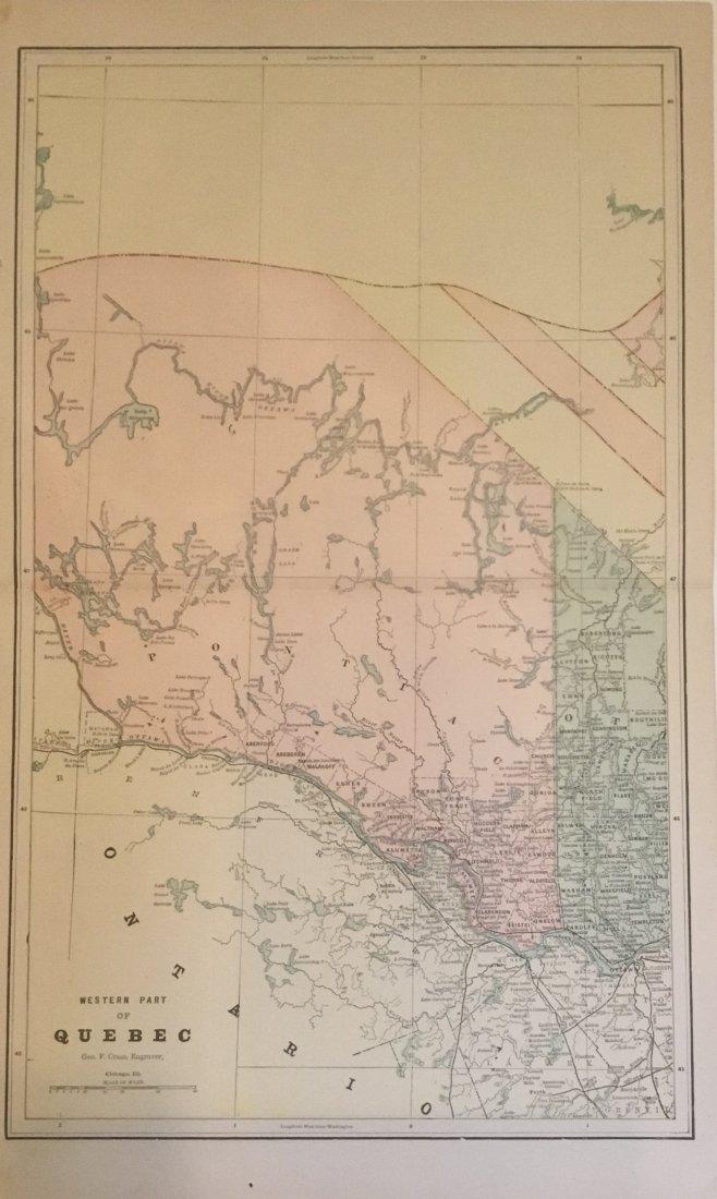 Geroge Cram: Map of Western Part of Quebec, 1891