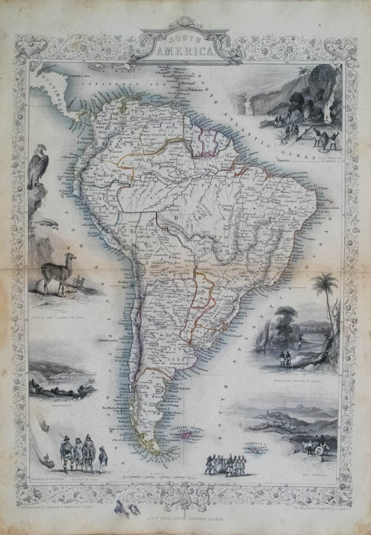John Tallis: Map of South America, 1851