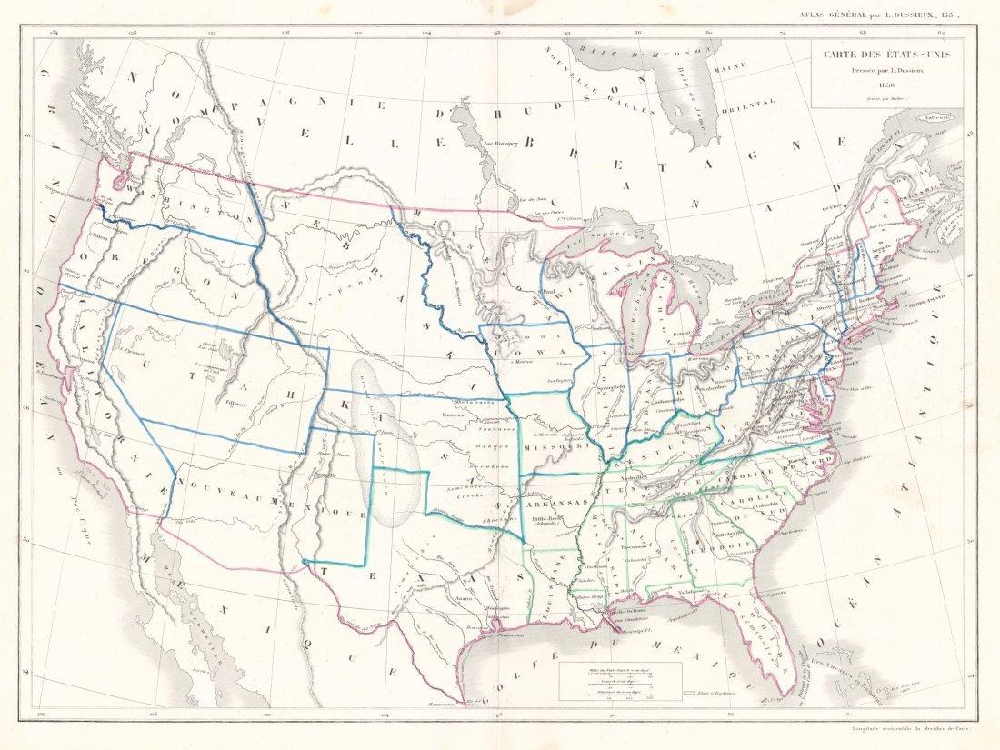 Carte Des Etats-Unis, 1856