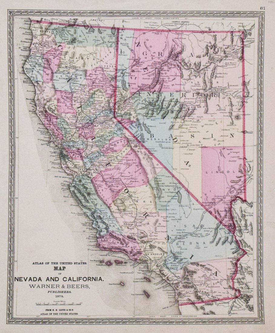 Warner Beers: Map of Nevada and California, 1872