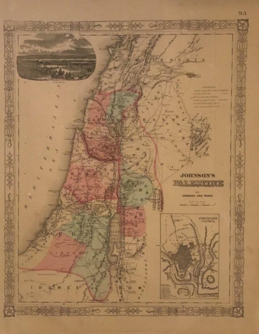Johnson's Map of Palestine, Inset of Jerusalem, 1864