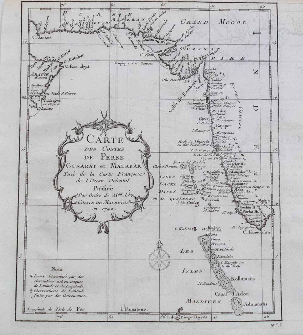 J. Bellin: Map of the West Coast of India, 1750