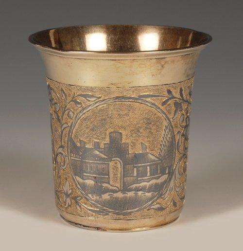 A Russian silver gilt and niello beaker, 1846