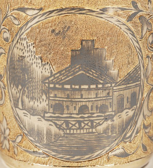 A Russian silver gilt and niello beaker, 1846 - 4