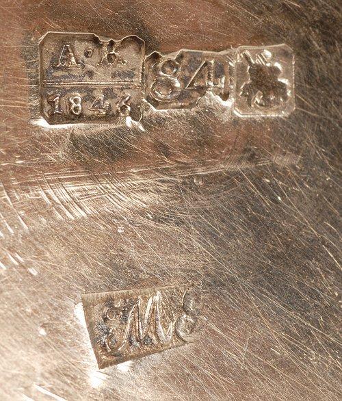 A Russian silver gilt and niello beaker, 1846 - 5