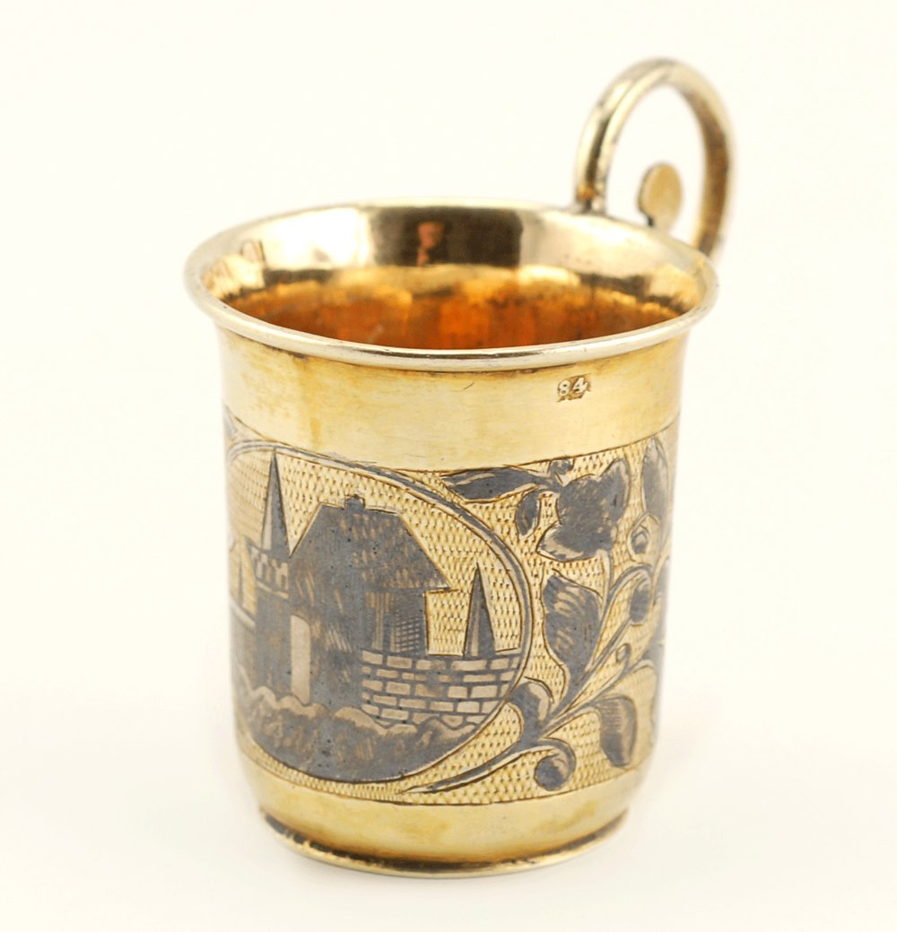 A Russian gilded silver & niello mini cup, Moscow, 1840