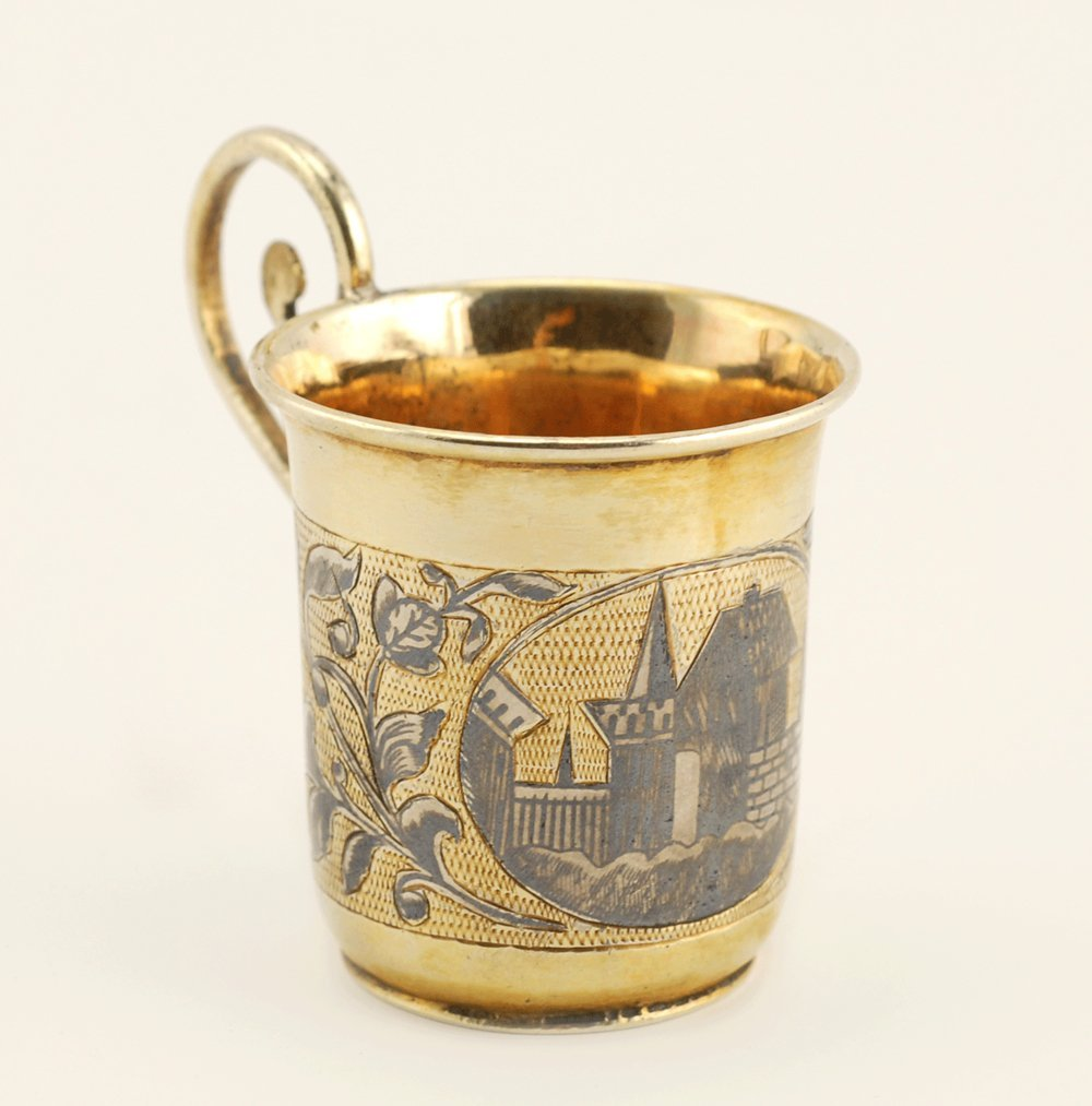 A Russian gilded silver & niello mini cup, Moscow, 1840 - 2