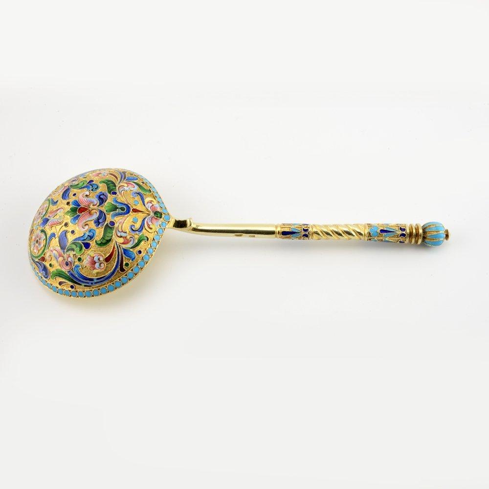 Russian gilded silver & cloisonne enamel serving spoon - 2