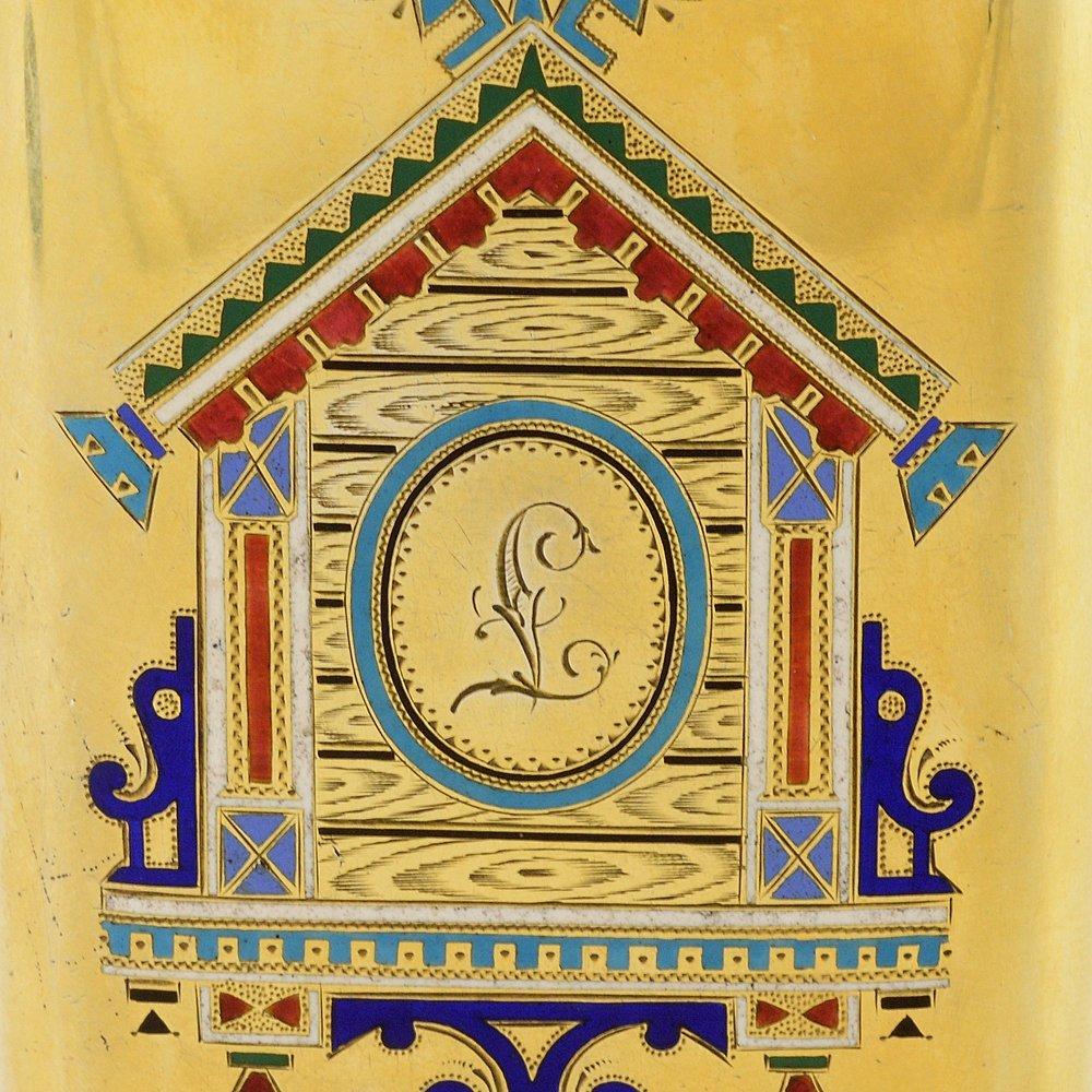 Russian pictorial & champleve enamel cigarette case - 2