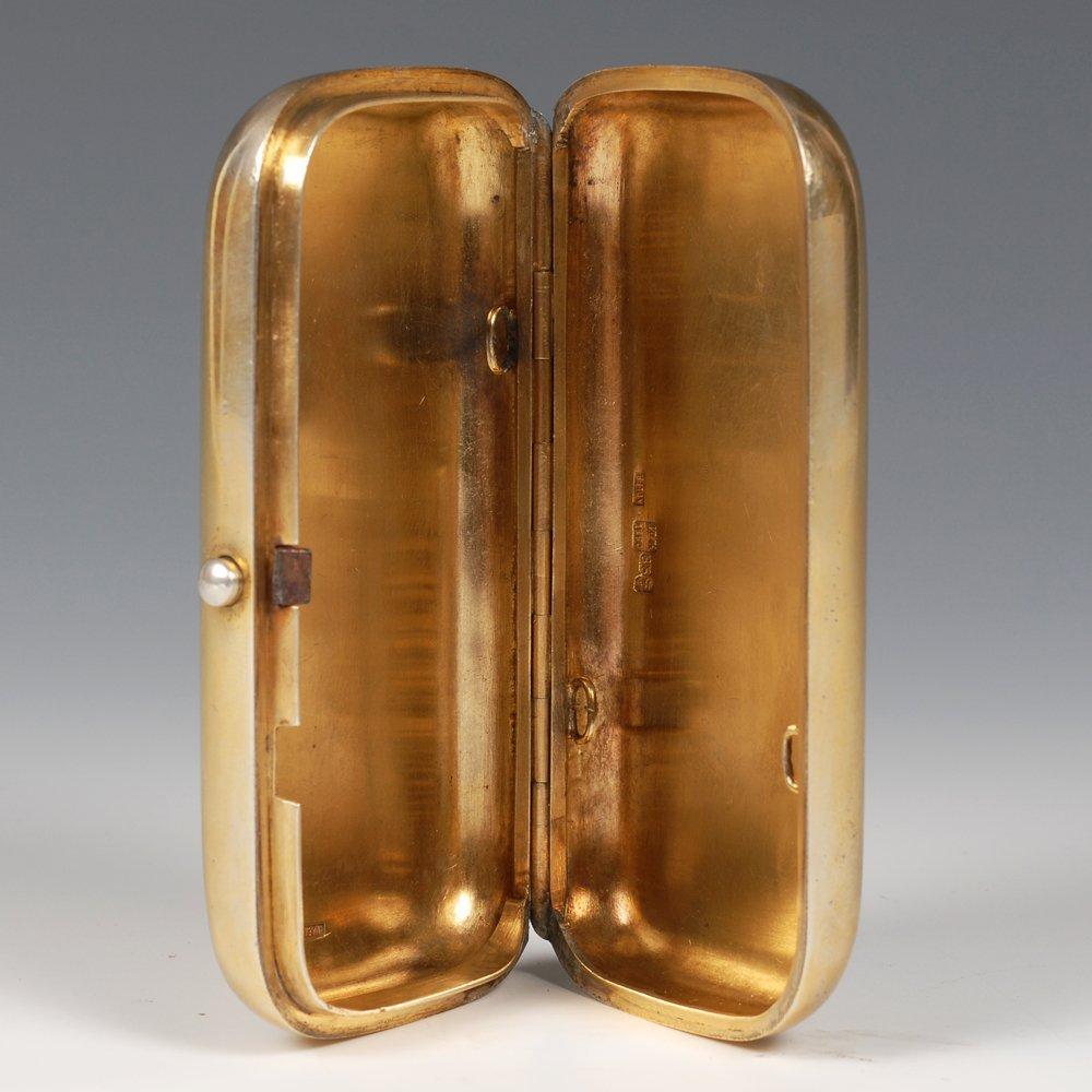 Russian pictorial & champleve enamel cigarette case - 4