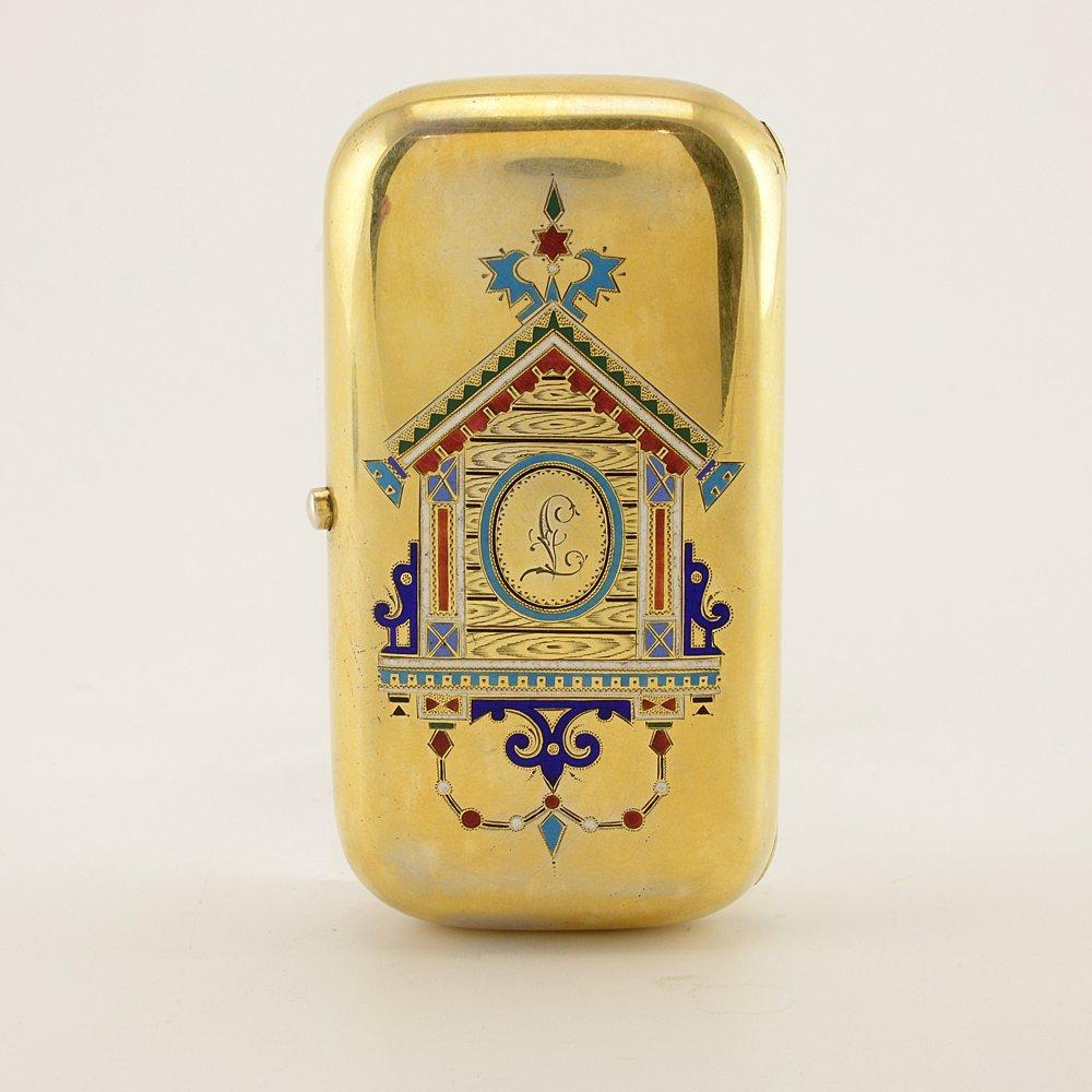 Russian pictorial & champleve enamel cigarette case - 5