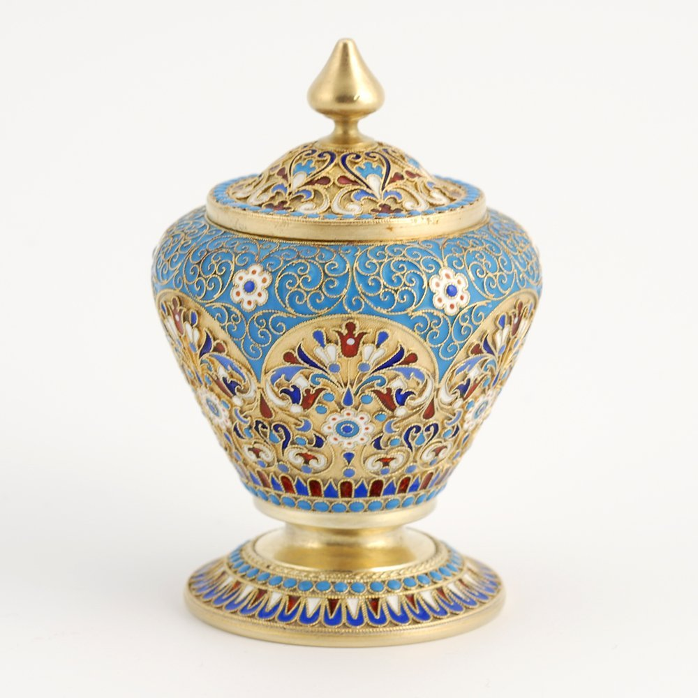 A Russian gilded silver & cloisonne enamel covered pot