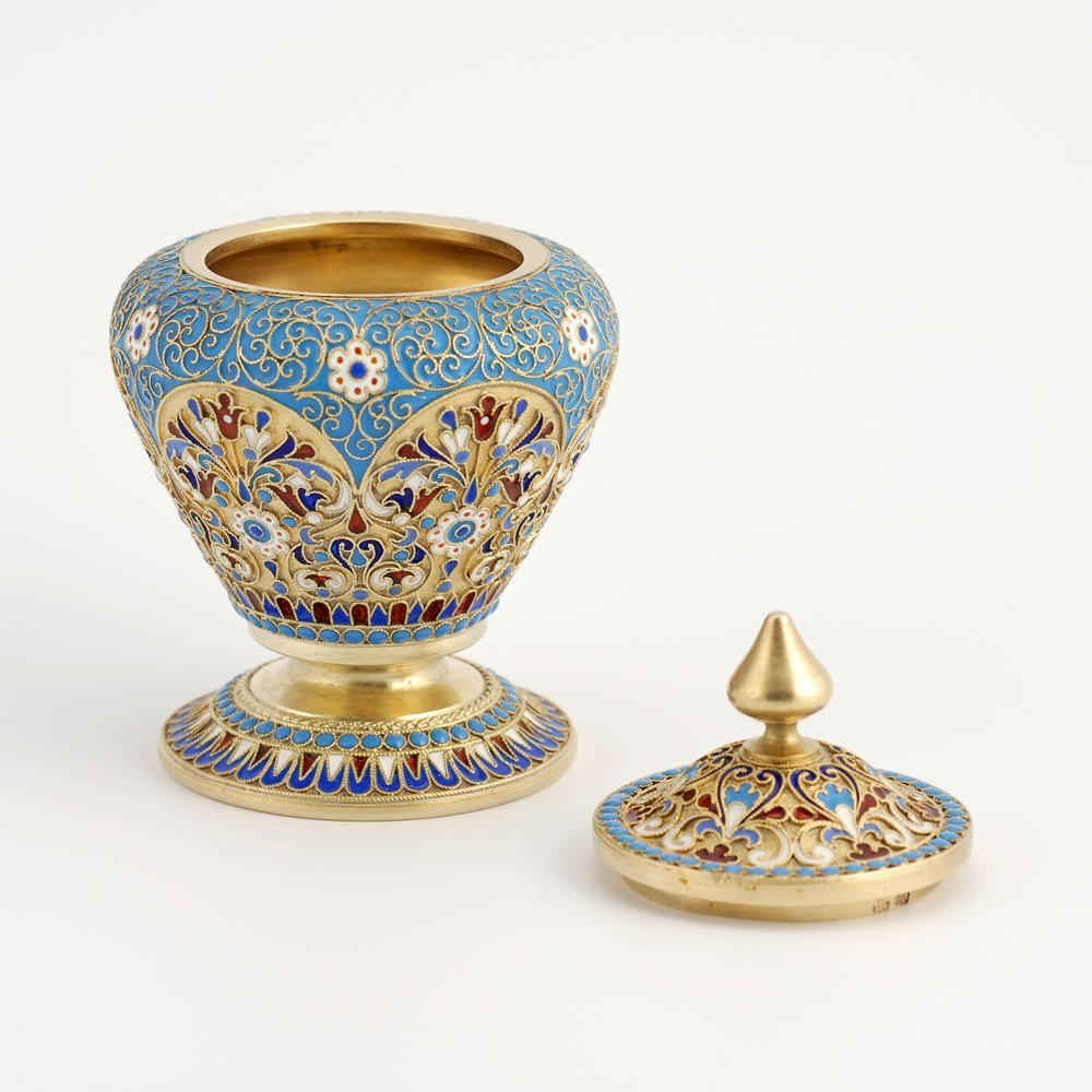A Russian gilded silver & cloisonne enamel covered pot - 3