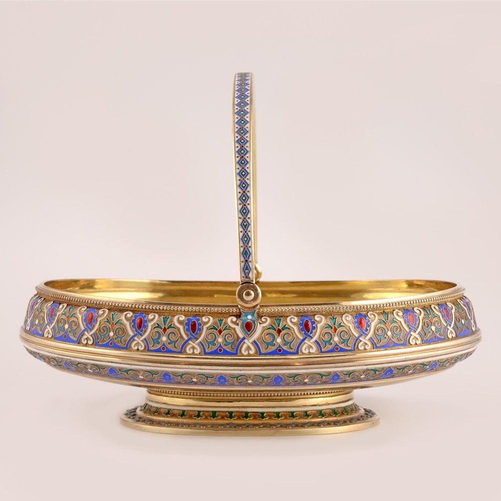 Large Russian silver & cloisonne enamel cake basket