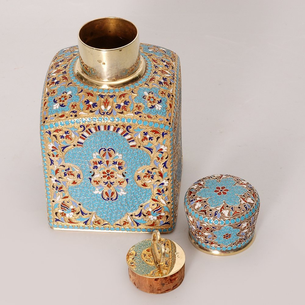 A Russian gilded silver and cloisonne enamel tea caddy - 2