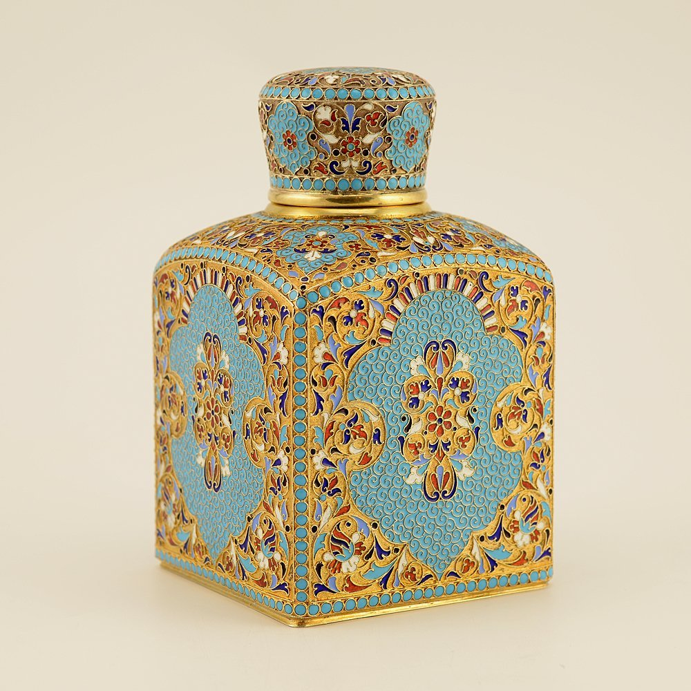 A Russian gilded silver and cloisonne enamel tea caddy - 3