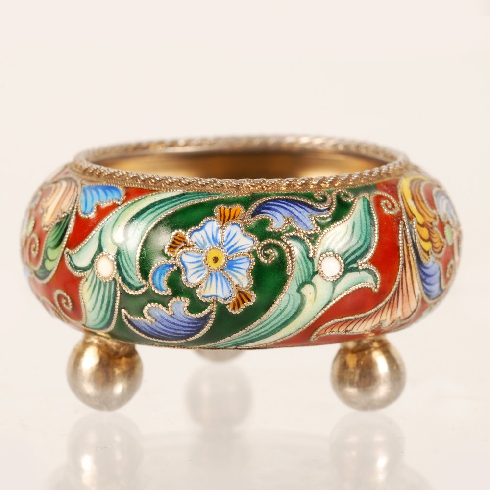 A Russian gilded silver & shaded cloisonne enamel salt