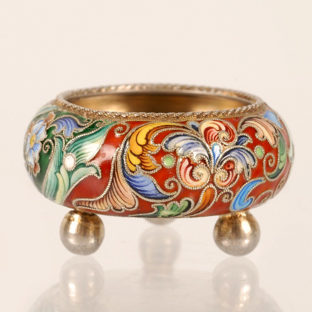 A Russian gilded silver & shaded cloisonne enamel salt - 2